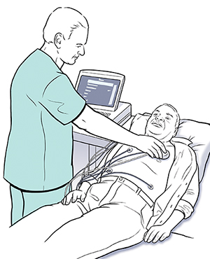 Technician using holding wand against man's chest to check pacemaker.