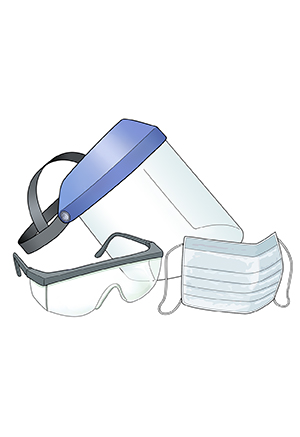 Face shield, safety glasses, and mask.