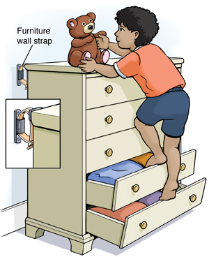 Child climbing up chest of drawers on open drawers to get teddy bear from top. Furniture wall strap holds chest of drawers securely to wall. Closeup of wall strap.